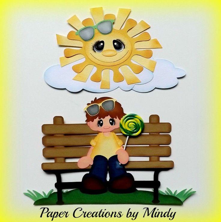 ELITE4U lollipop boy kids park premade paper piecing scrapbooking page album ~ DT Mindy