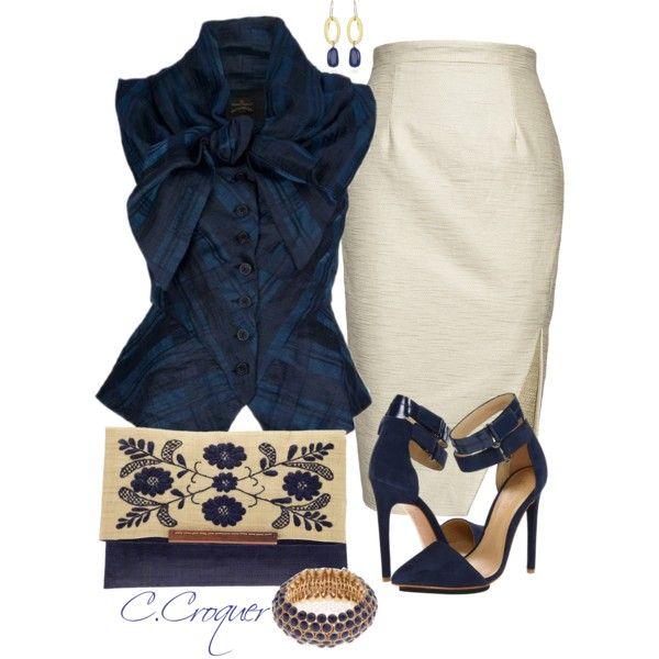 Nicola Finetti Asymetrical Front Split Beige Skirt - Vivienne Westwood Anglomania Blue Sunday Bow Blouse ✯ ωнιмѕу ѕαη∂у