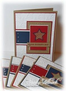 handmade card ... patriotic theme ... red, white, blue and kraft ... good template for any theme ....
