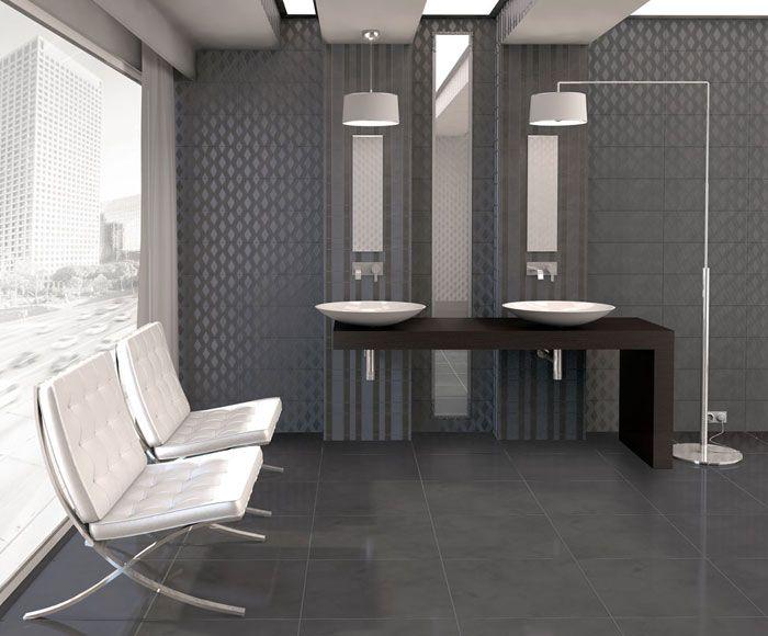 Masculine bathroom   baño de estilo masculino   Mabe wall tile   Arcana tiles   revestimiento Mabe