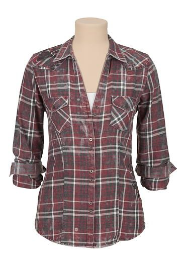 washed plaid button down shirt with rose embroidery (original price, $34) available at #Maurices