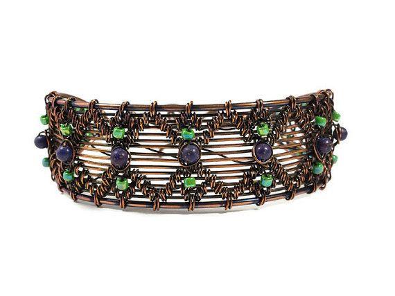 Pulsera de alambre de cobre hecho a mano, joyas de piedras preciosas, joyería de alambre hecha a mano, regalo de aniversario 7 º y 9 º, lapislázuli de Lapis, muñeca grande, manguito de cobre