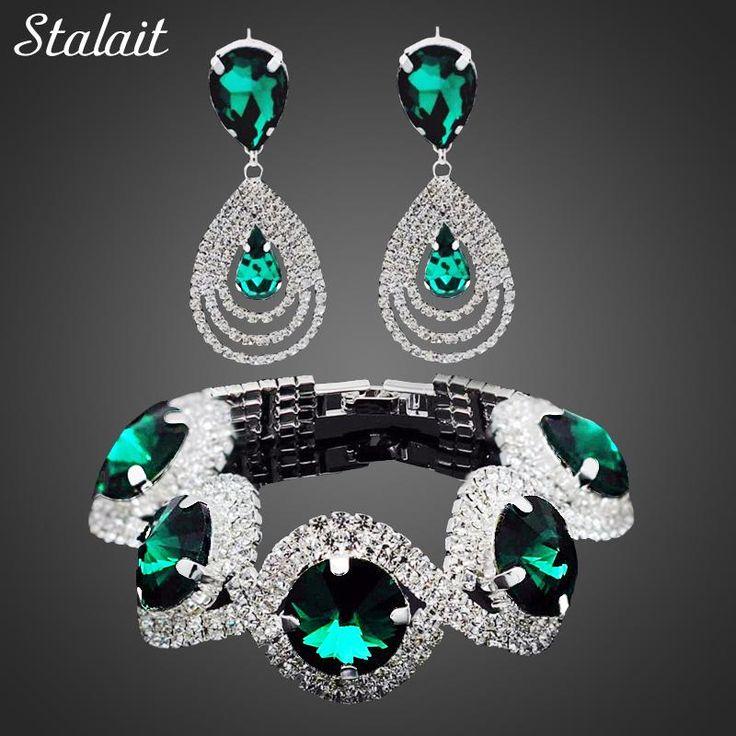 Fashion Wedding Bridal Jewelry Sets For Women Rhinestone Austrian Crystal Jewelry Set Bracelet Earrings Set Indian Accessories  #newproduct