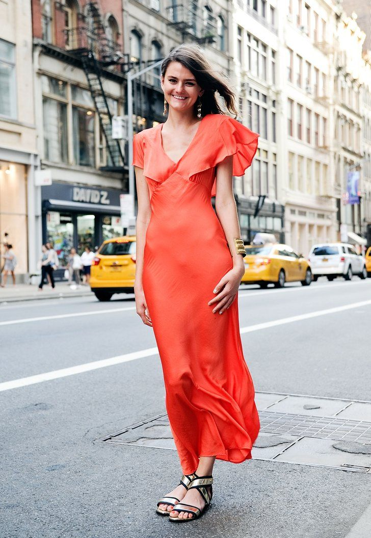 """Pin for Later: 58 Flawless Ways to Style the End of Summer Summer Street Style This bright, breezy dress screams, """"Summer cocktail party."""" We'd be looking for reasons to wear it all season."""