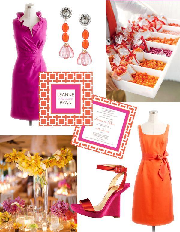 Colour Pop! {fuschia and orange} wedding invitation inspiration