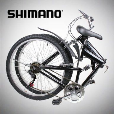 """Amazon.com: New 26"""" Folding Mountain Bike Foldable Bicycle 6 SP Speed Shimano, Black Color: Sports & Outdoors"""