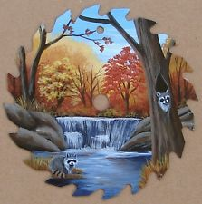 Hand Painted Saw Blade Raccoons Autumn Forest Stream Waterfall Cabin Decor