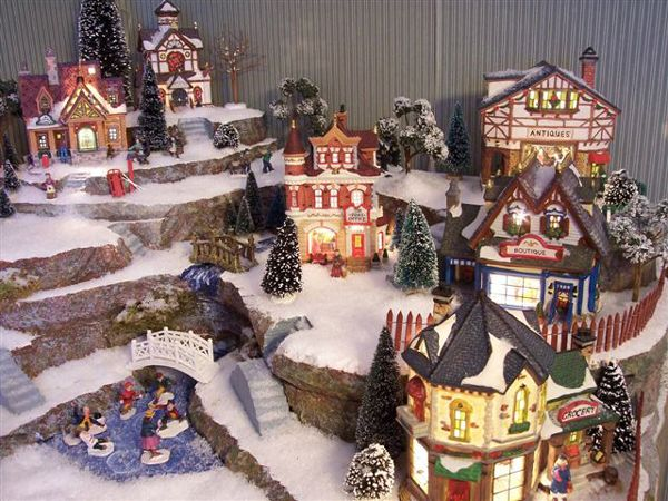 village display hot wire foam factory christmas snow village pinterest christmas villages christmas and christmas village display - Christmas Town Decorations