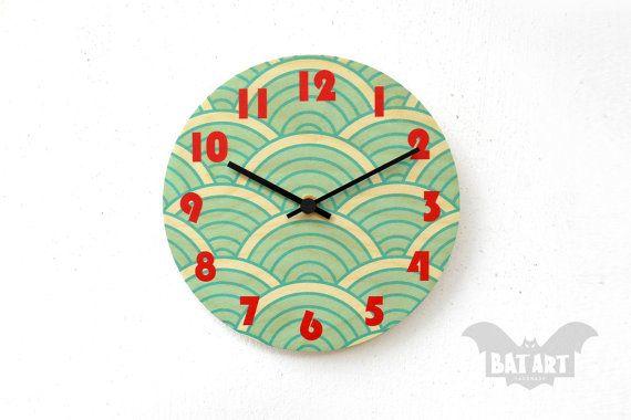 BAT Wall Clock 20cm blue waves  Black metal hands  High by BatLab