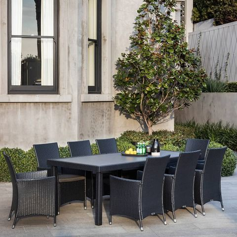 Entertain friends and family in the great outdoors with this stylish, contemporary Excalibur Sundowner 9 Piece Dining Setting. Seating up to 8 people comfortably, the Sundowner Dining Setting is sure to impress your guests as it compliments your outdoor area or backyard