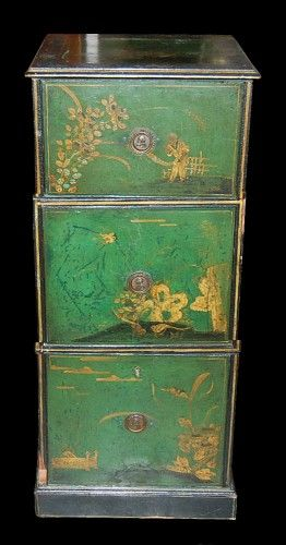Antique English Chinoiserie Tall Chest, Black and Green Lacquered Chest, ca.1850. Two drawers and one door offering ample storage, lovely hand painted detail.