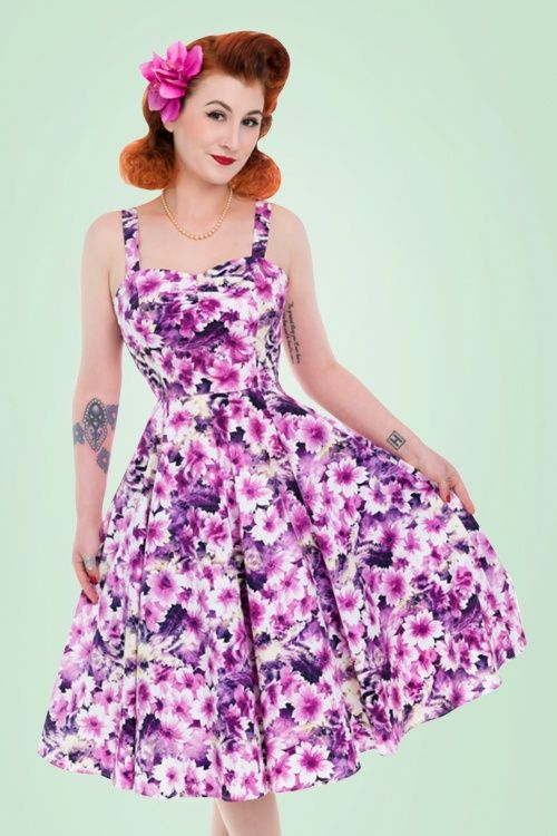 4e0addb48806 50s Echinacea Floral Swing Dress in Purple | plus sized outfits | Blusas