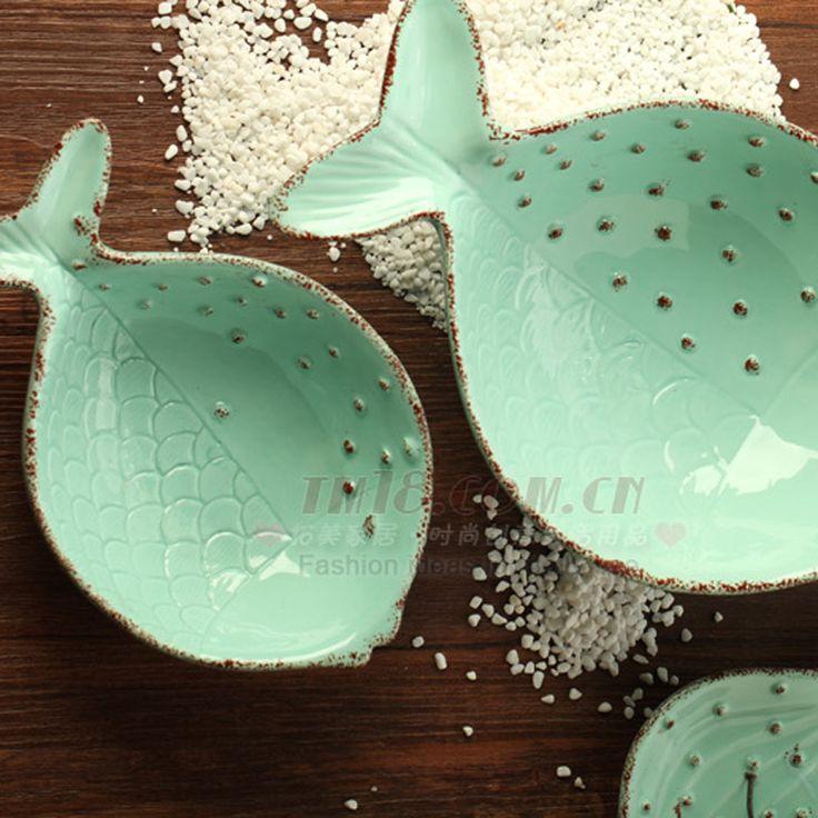 Для za kka морской серии керамический рельеф рыбы вазу с фруктами салатник десерт чаша экологичные ребенок посуда(China (Mainland))