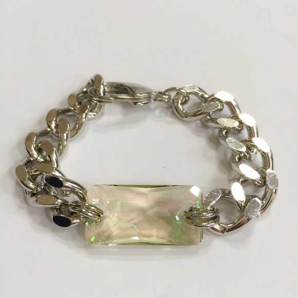 "L.George Silver Molly Bracelet with Swarovski. The Molly Bracelet is a stunning piece from L.George Designs. Rhodium Plated chain with Luminese Green Swarovski Crystal. Measurements: 7.5"" adjustable to 7"". Handcrafted in Atlanta. (A75) L.George Jewelry Bracelets"