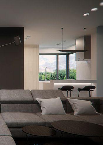Living room design in Nowe Chechło, POLAND - archi group. Pokój dzienny w domu jednorodzinnym w Nowym Chechle.