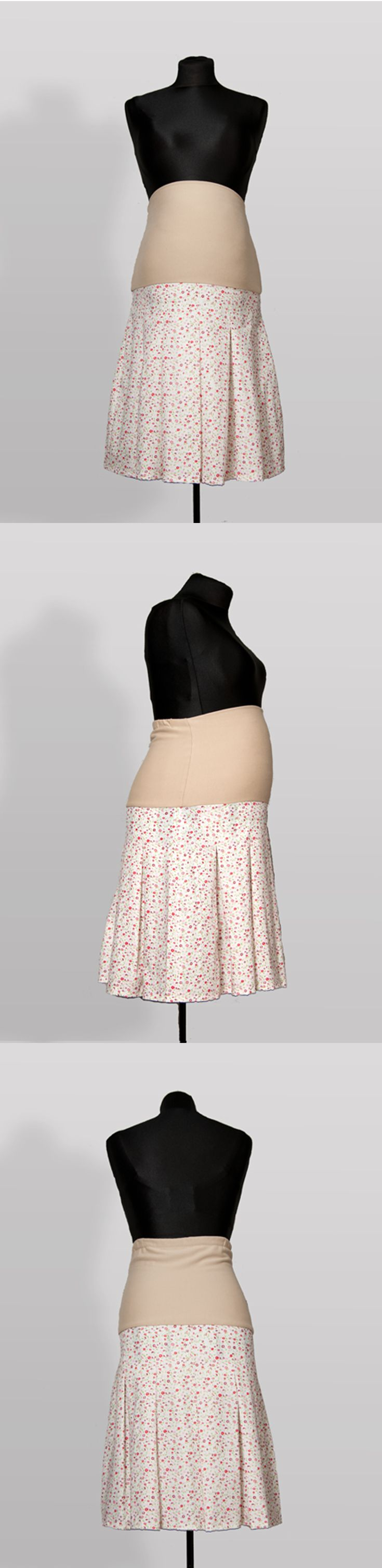 SK006 – Sukně Kvítí Těhotenská sukně z bavlněné látky s pružným pásem Ideální do práce Pružný pás pro zvětšující se bříško Pás je možné nosit přes bříško nebo ohnutý Sukni je možné nosit i po těhotenství