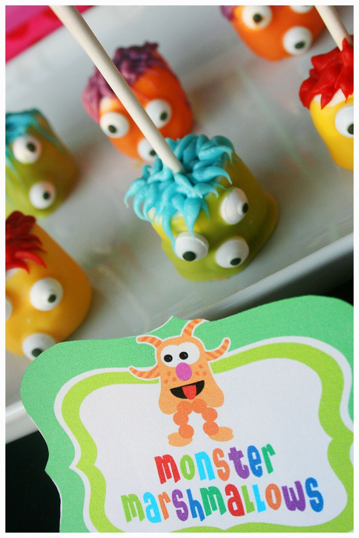 Amanda's Parties TO GO: Monster party food - monster marshmallows