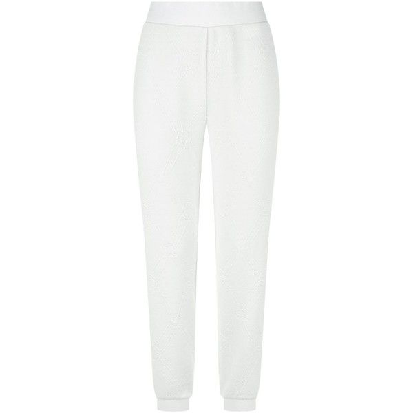 Escada Sport Patterned Sweatpants (820 AED) ❤ liked on Polyvore featuring activewear, activewear pants, sweat pants, white sweatpants, escada sport, tapered sweatpants and print sweatpants