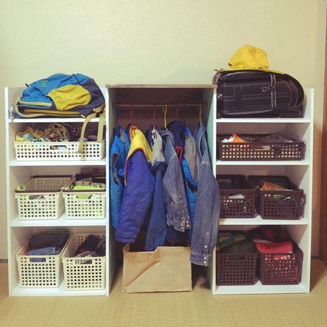 yukarigohanさんの、セリア,カラーボックス,カラーボックス DIY,衣類収納,帽子収納,ランドセル置き場,ニトリのカラーボックス,棚,のお部屋写真