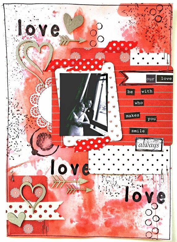 Paper Wings Productions Link Up Party:February - Red theme: Love, love, love mixed media page by Amanda Baldwin