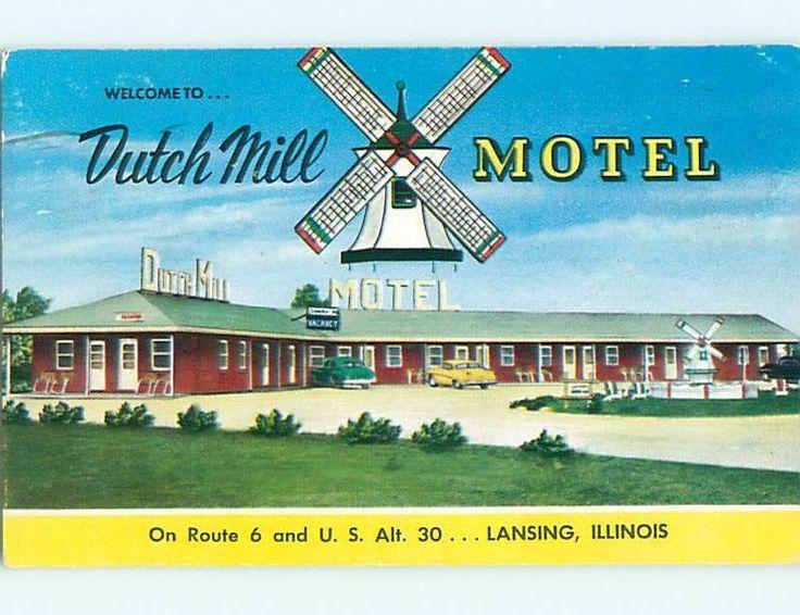 1950's OLD CARS & DUTCH MILL MOTEL Lansing Illinois IL s8423 | eBay