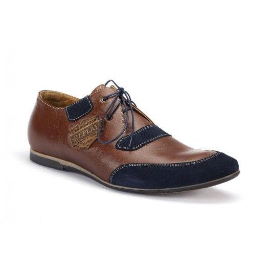 COMODO E SANO hnedé kožené športové topánky s nášivkami - fashionday.eu