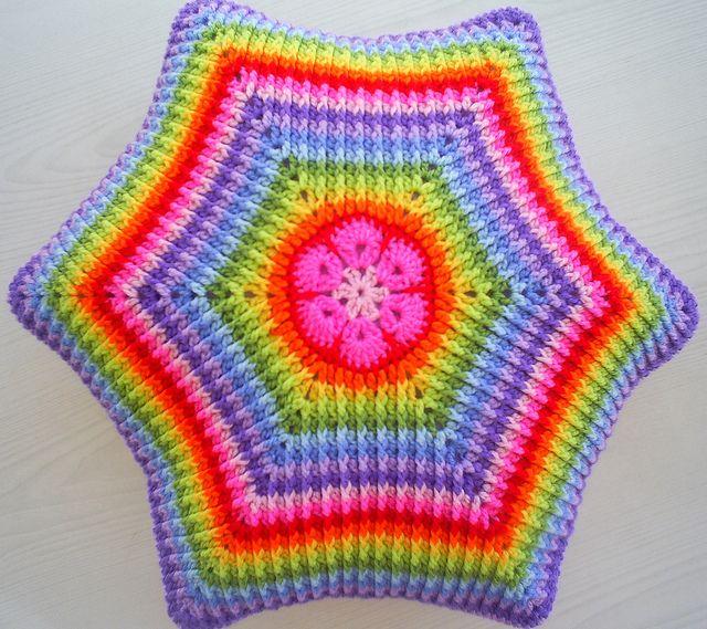 african flower rainbow hexagon cushion cover by riavandermeulen, via Flickr