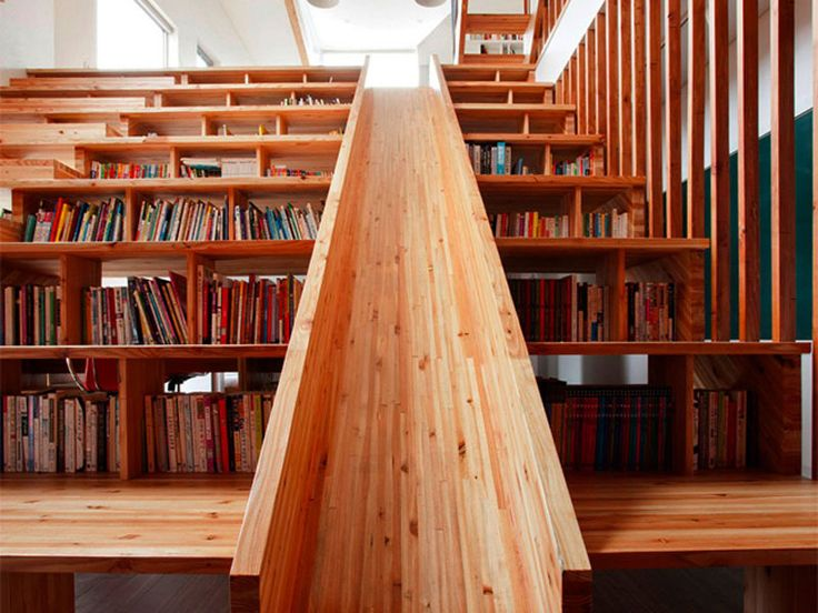 Coolest library ever!    There's nothing like diving into a good book -- and The Panorama House in Chungcheongbuk-do, South Korea, designed by Moon Hoon lets the family slip into a story with a library that boasts a multi-level slide