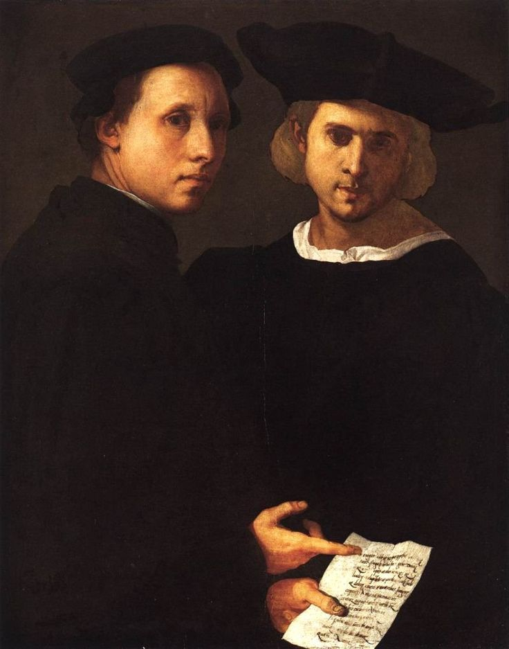 Two Friends.   Jacopo Carucci, known as Pontormo after his birthplace (1494 – 1557), was fond of double portraits.