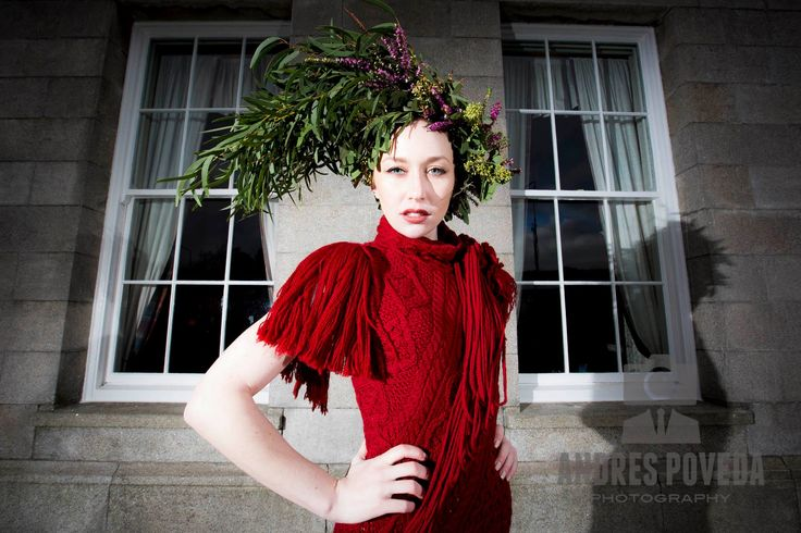 Red cabled bias dress by Mary Donoghue for Irelands Eye Knitwear 2015
