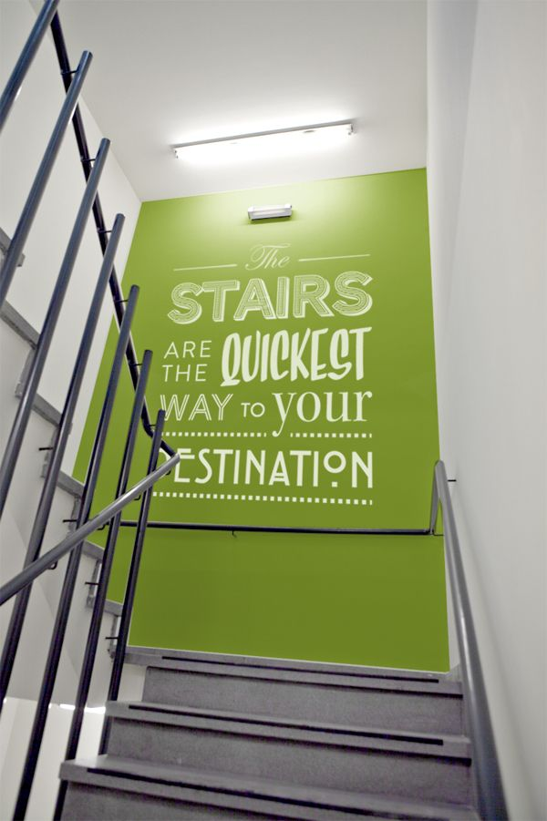 wall pictures for office. wall graphic text typography for the office stairs great way to break up pictures