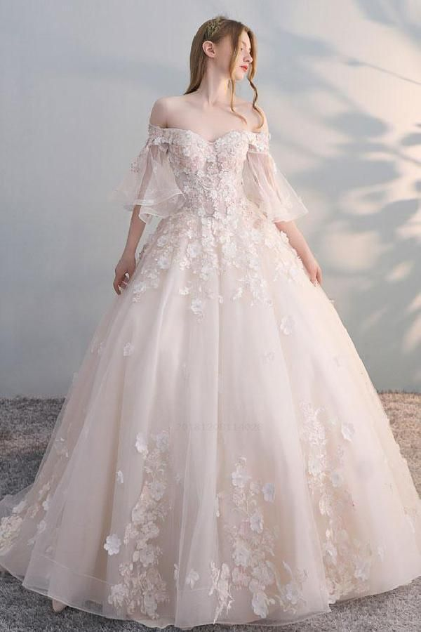 Custom Made Easy Long Wedding Dresses, Lace Wedding Dresses, Champagne Prom Dress