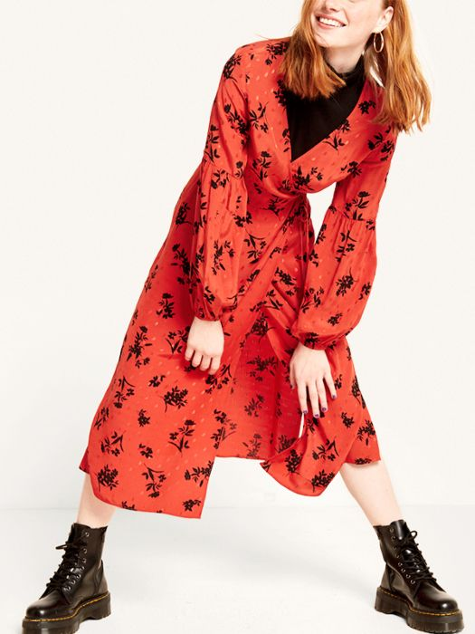 5adb703a58a9 Nobody's Child Rust Perry Floral Tie Long Sleeve Detail Midi Wrap Dress