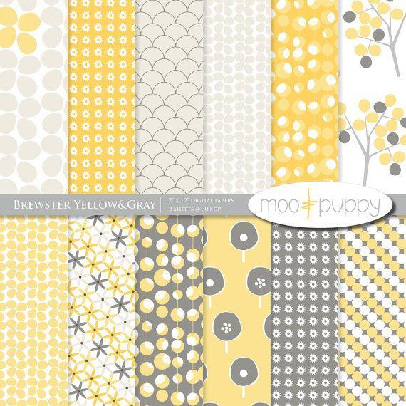 Pack de papier Scrapbook Digital jaune et grisBrewster jaune