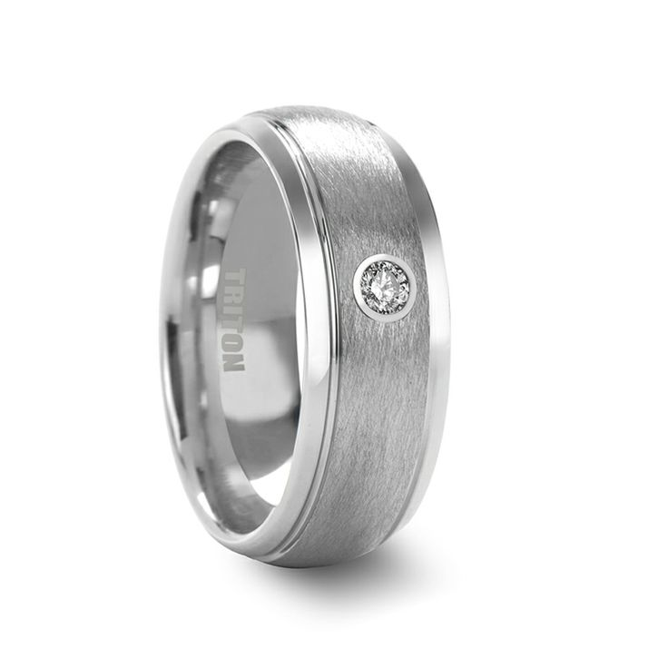 ANSEL Domed Tungsten Ring with Wire Brushed Center and White Diamond by Triton Rings - 8mm
