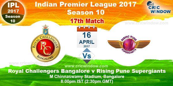 IPL Match 17 Bangalore vs Pune (D/N) M Chinnaswamy, Bangalore - Sun, 16 Apr  8:00 pm http://www.cricwindow.com