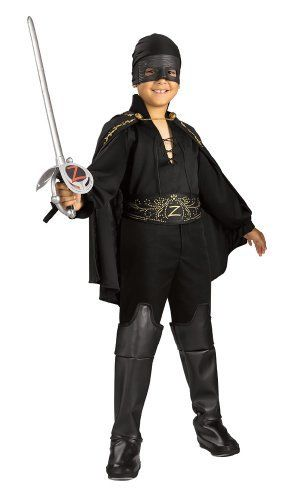 "Zorro Child's Zorro Costume, Small Rubie's Costume Co. $21.44. Made in China. Hand Wash Cold Water, Line Dry. Child's size Small fits up to 48"" tall and 25"" waist. This is an officially licensed Zorro costume. 12.00"" wide. Costume features decorated cape and belt. 1.50"" high. Also includes shirt, pants with attached boot tops, and bandana with eyemask. From the Manufacturer                Your child will love this Officially Licensed Classic Zorro costume. Your child is sure to b..."