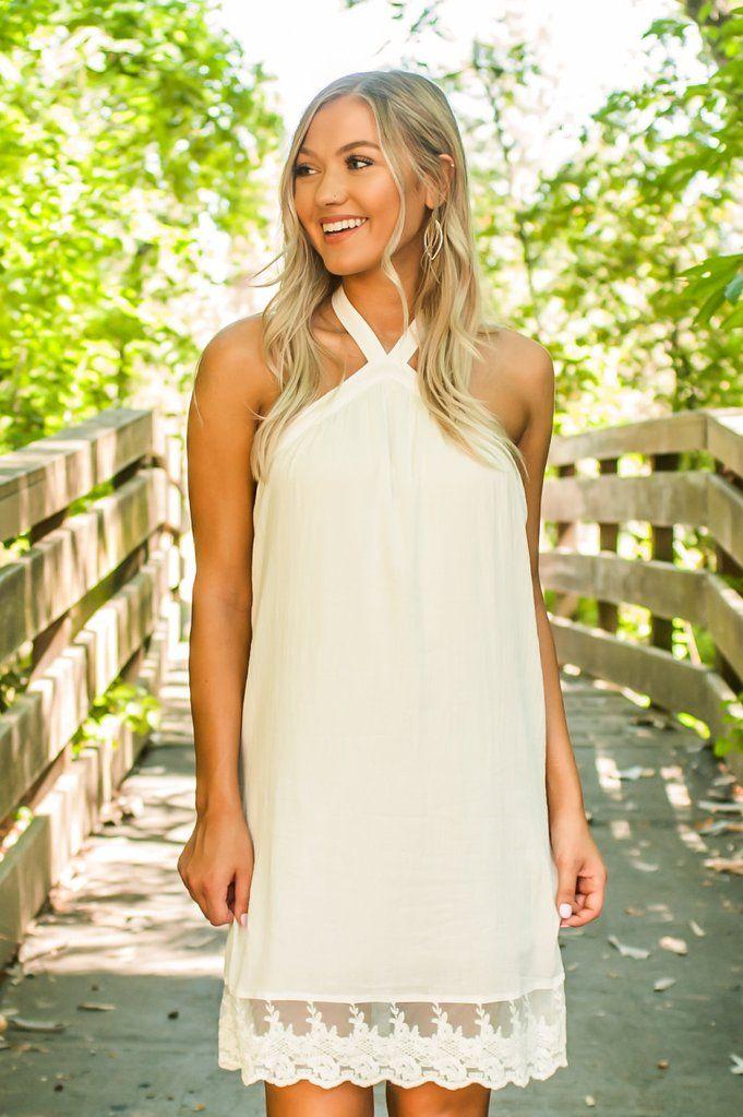 edb3f281492c Women s White Halter Neck Lace Detailing Overlay Summer Dresses LWD ...