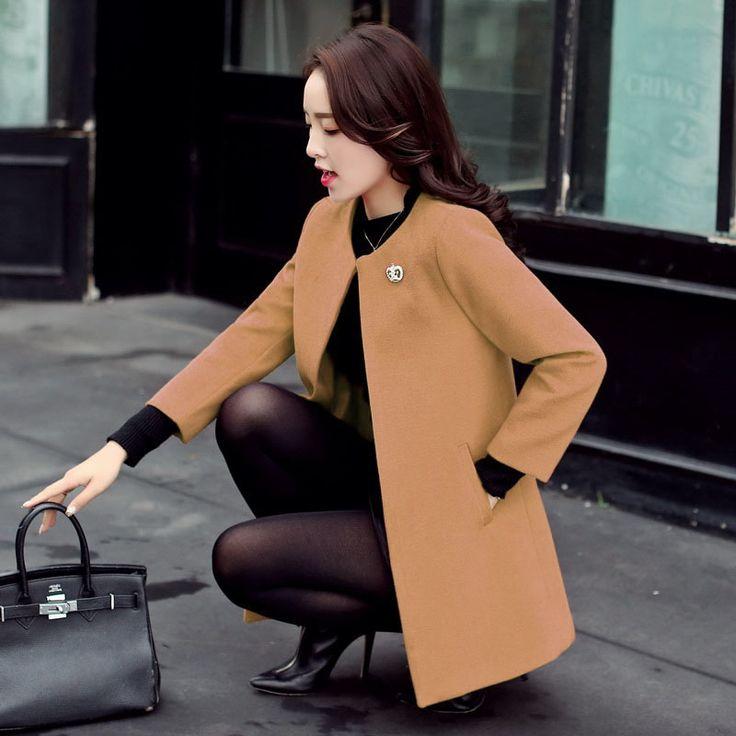 2017 весной и осенью новый корейский ярдов весной и осенью новый тонкий и длинные участки шерстяное пальто шерстяное пальто женщина -tmall.com Lynx