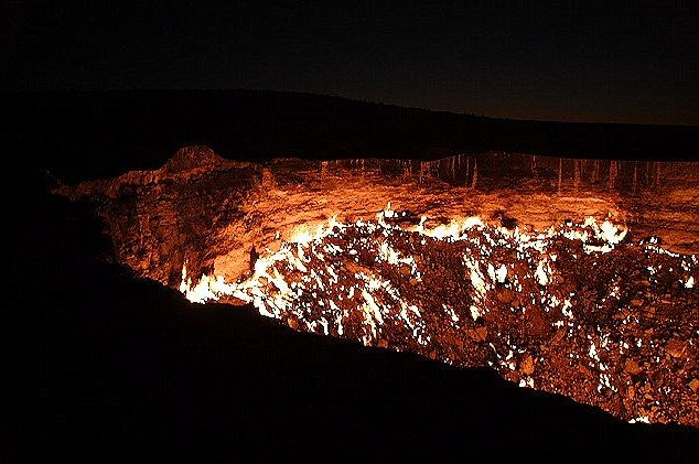 The Door to Hell, Karakum Desert (Turkmenistan). A big hole of natural gas lit on fire by the Soviets and is still burning 40 years later.