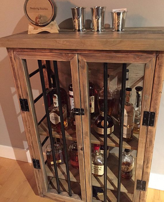 liquor cabinet rustic iron and wood with by