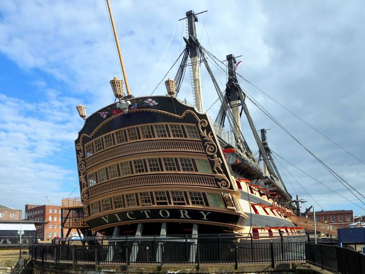 Admiral Nelson's flagship HMS Victory is on display at the Historic Dockyard in Portsmouth, England.