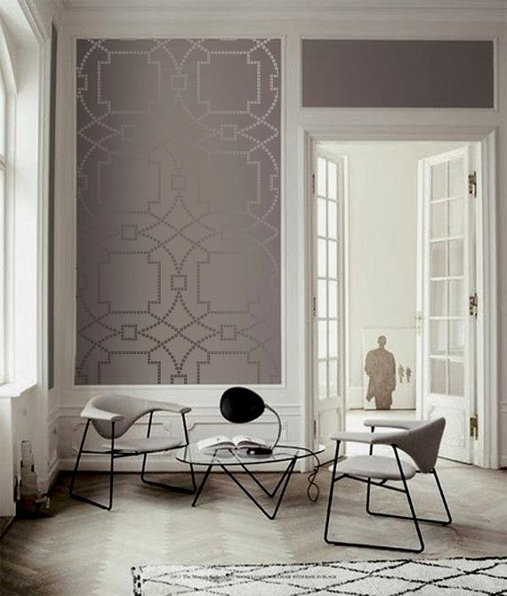 Wall Stencil Geo Trellis Pattern Wall Room Decor by OMGstencils