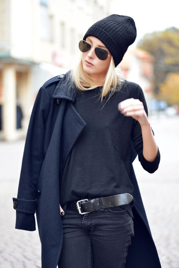 Classic Fashion Style in Black and White - black casual coat, hat, top, pants