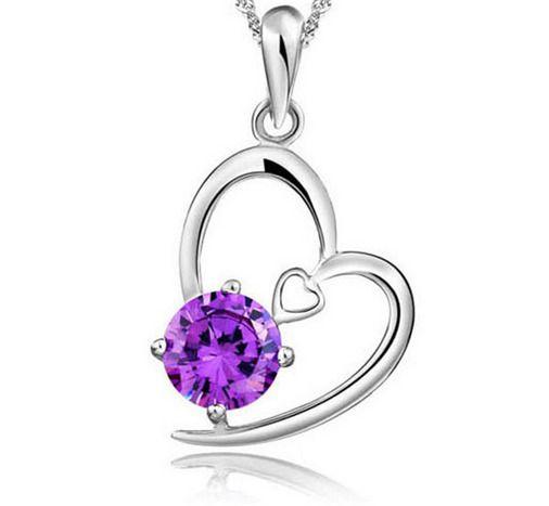 Fashion Womens Heart Purple Crystal Rhinestone Silver Chain Pendant Necklace - https://barskydiamonds.com/necklaces/