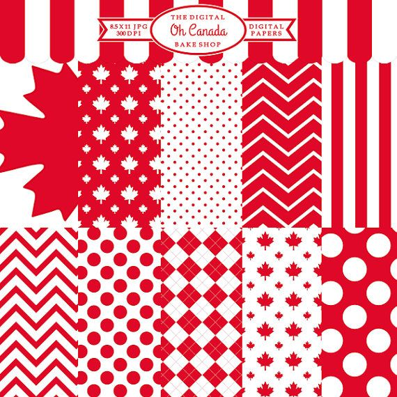 canada day canadian digital papers  Oh Canada by DigitalBakeShop