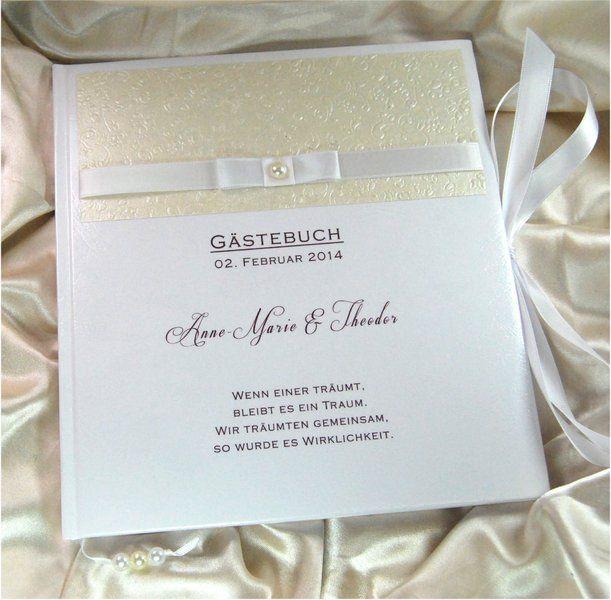 Personalisiertes Gastebuch Zur Hochzeit In Creme Ivory Vanille Champagner Mit Floraler Pragung Und Schleife Blanko Oder Mit Fragen Drinks