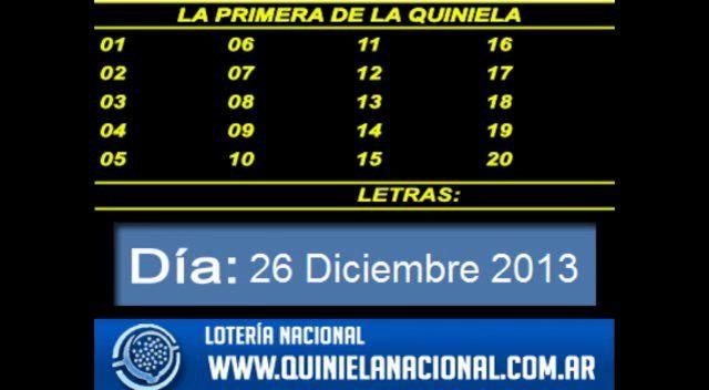 Loteria Nacional - La Quiniela Nacional Primera Jueves 26 de Diciembre 2013. Fuente: www.quinielanacional.com.ar