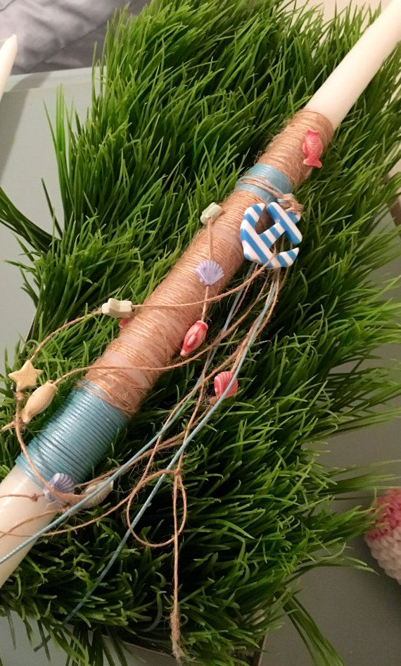 Nautical Greek Easter Candle Lambada by KoulEvents on Etsy