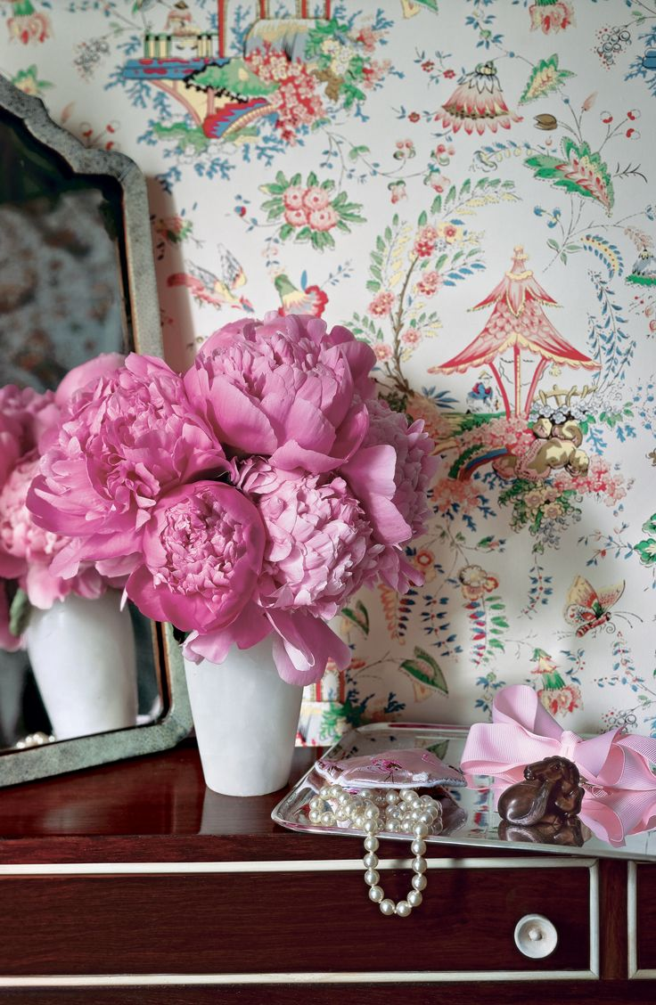 Brilliant pink peonies as an ultra feminine dressing table bouquet